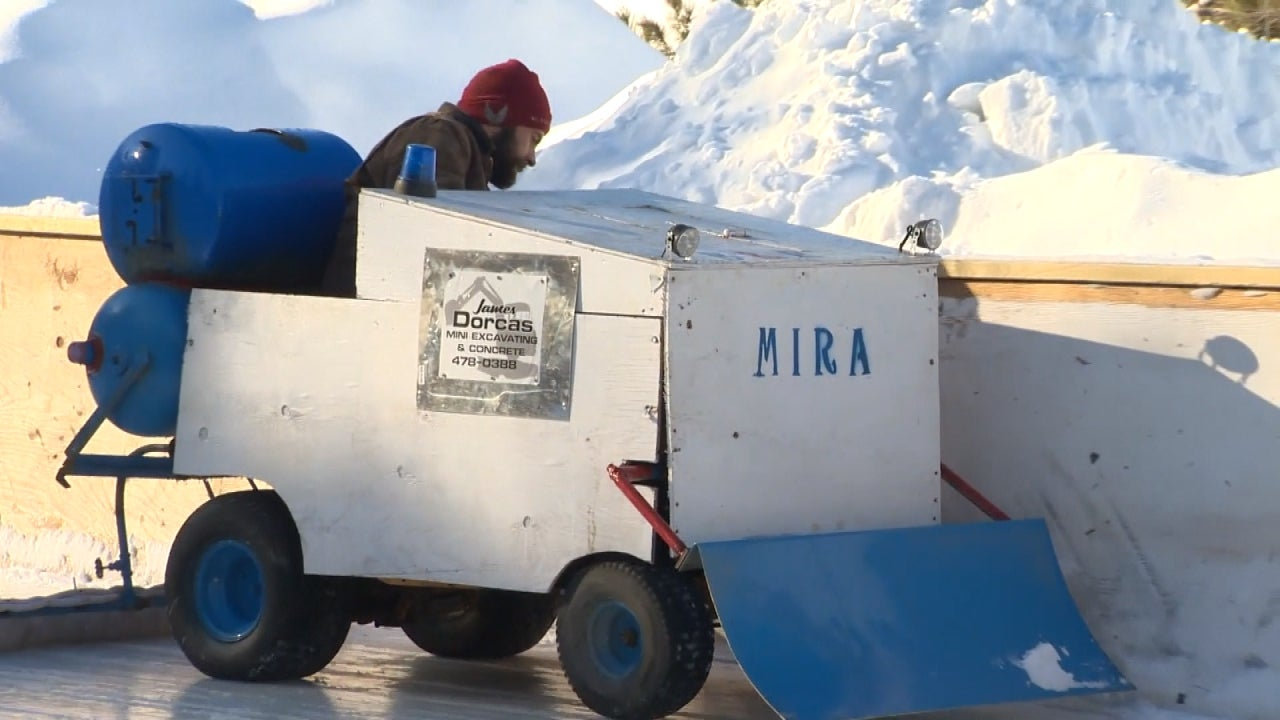 Man Turns His Lawn Mower Into A Zamboni For Community