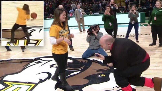 Woman gets surprise proposal after making half court shot for Making a basketball court