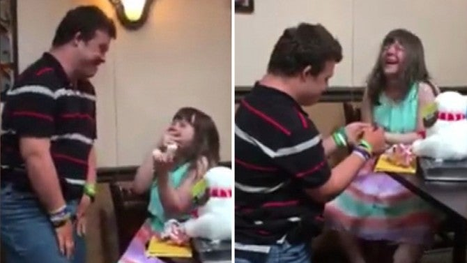 girl with down syndrome cannot contain her joy when