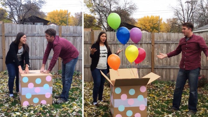 gender reveal party goes hilariously wrong as box contains