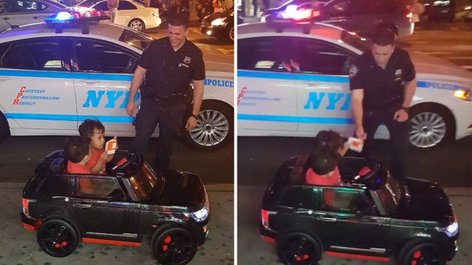 Double Trouble Nypd Pulls Over Twin Toddlers In Toy Car