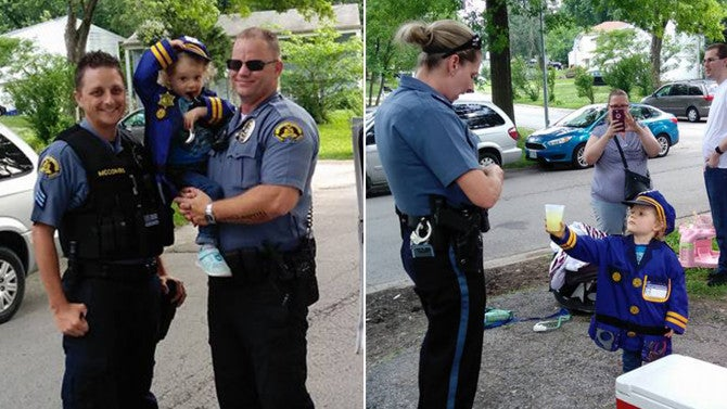 Girl 3 Puts On Police Uniform To Sell Lemonade And All