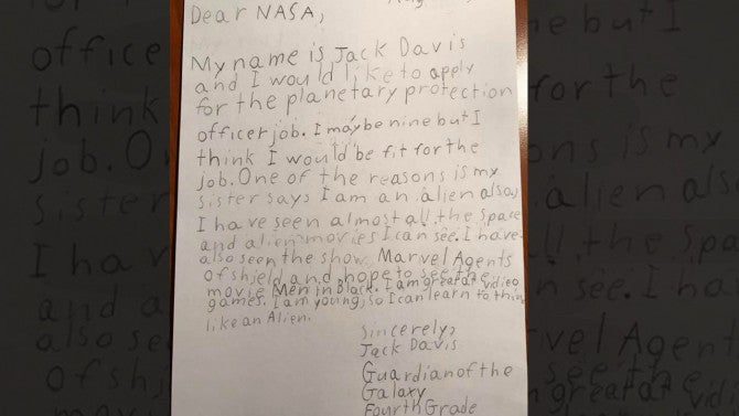 9 year old guardian of the galaxy applies to nasa job i can learn to think like an alien inside edition