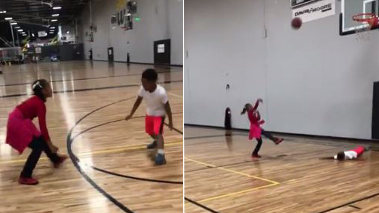 11 Year Old Girl Crosses Up Brother On Basketball Court