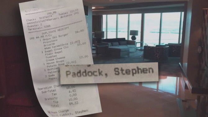 room service receipt of vegas gunman from days before shooting