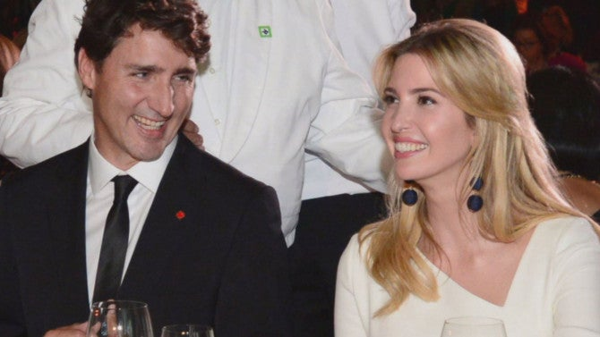 Ivanka Trump Appears Cozy With Canadian Prime Minister