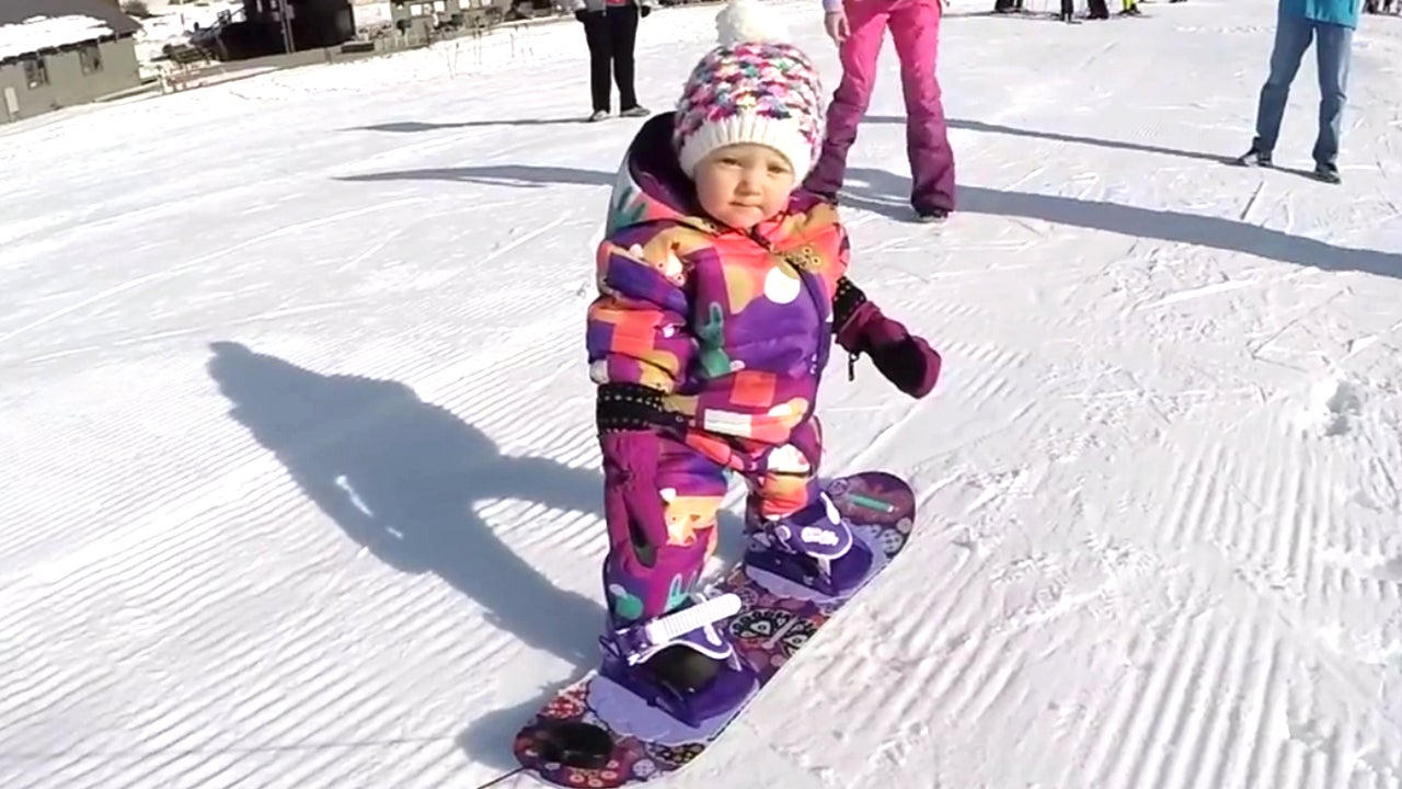 Snow Way Toddler Learns To Snowboard Ahead Of Her First