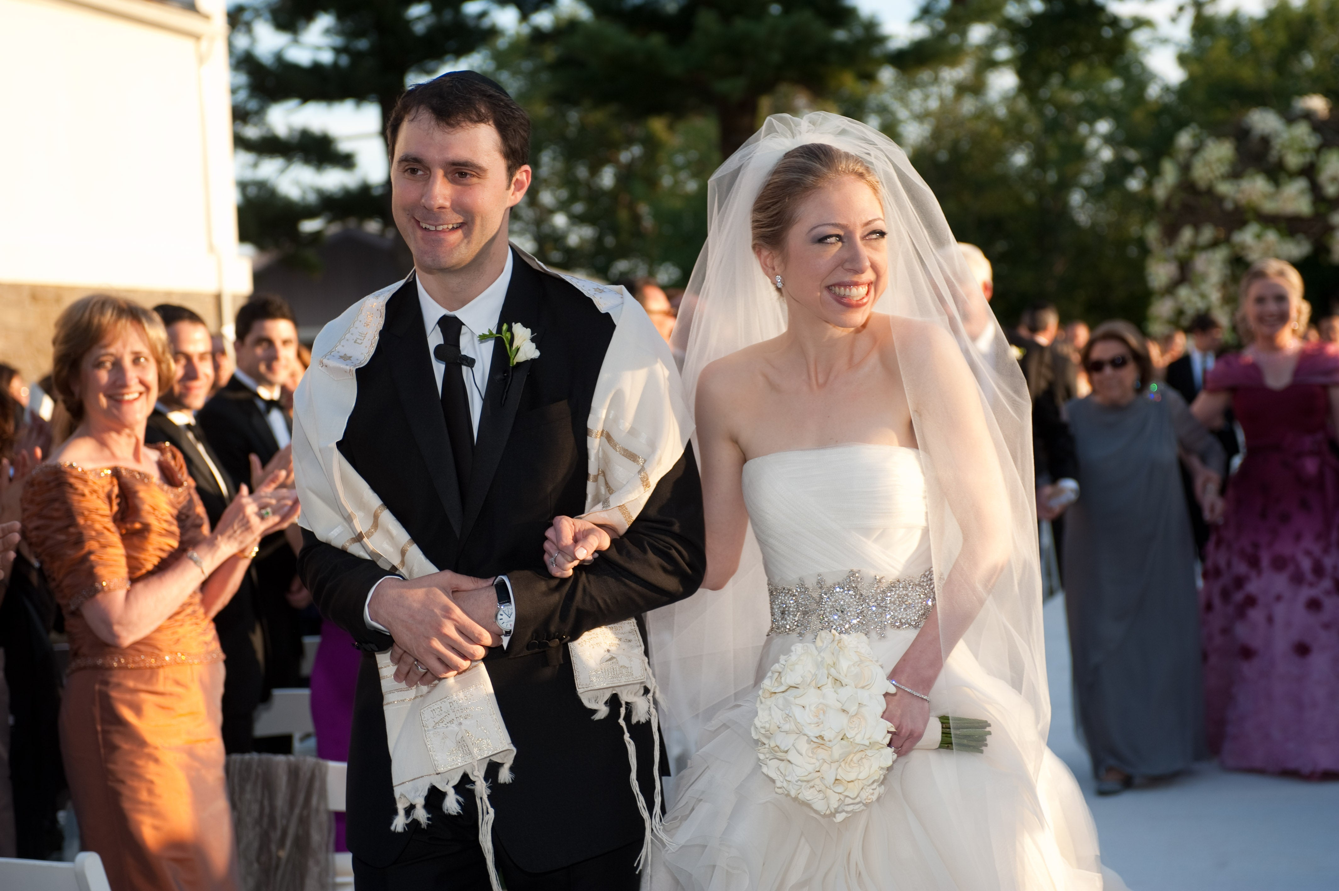 Chelsea Clinton wore an elegant beaded gown designed by Vera Wang.