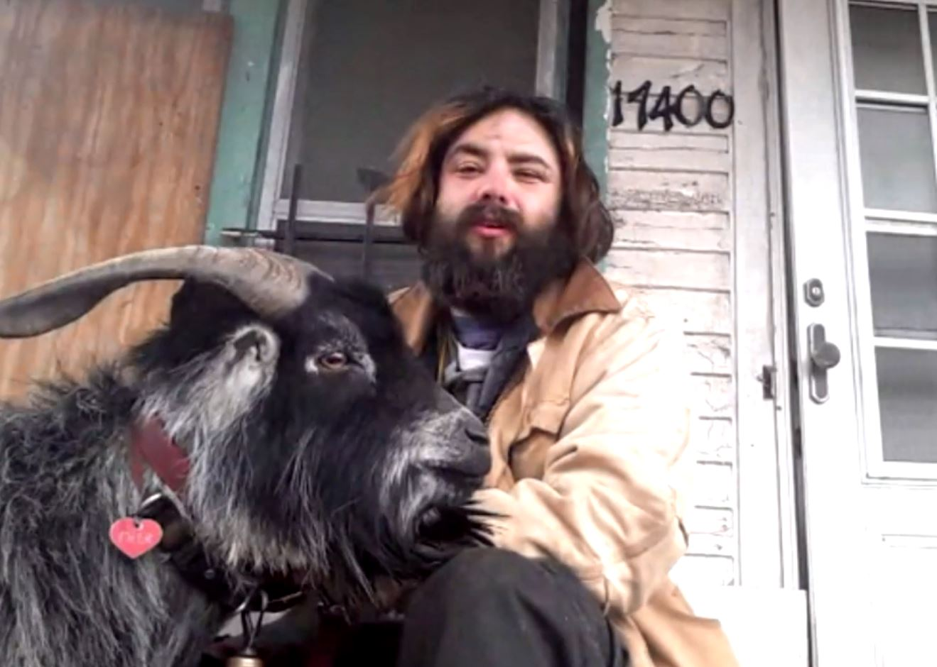 Erick Brown and says his therapy goat named Deer is his best friend.