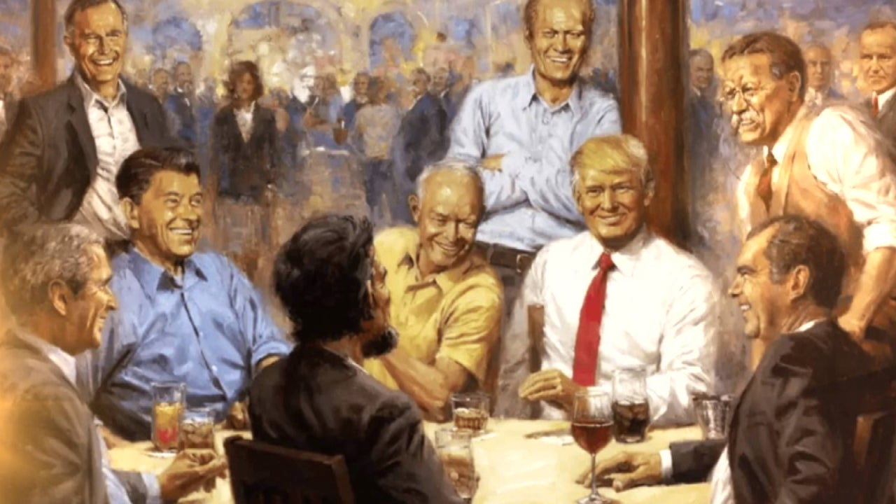 critics unload on 39 tacky 39 and 39 trashy 39 painting of trump with other republican presidents. Black Bedroom Furniture Sets. Home Design Ideas
