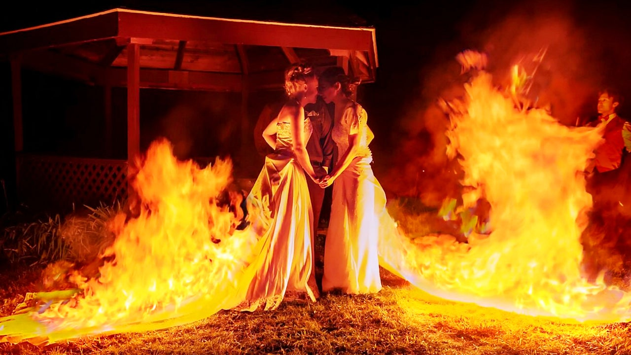 Daring Brides Light Wedding Dresses On Fire While