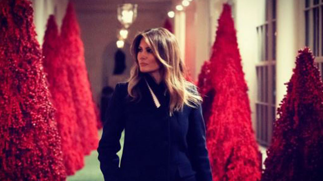 Melania Trump's Blood-Red Christmas Trees At White House