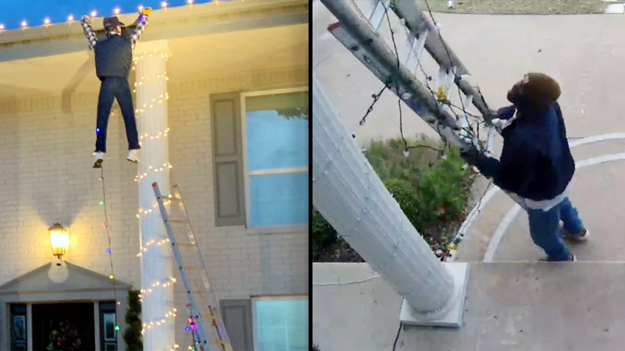 Good Samaritan Calls 911 to Rescue 'Man' Dangling From Roof in Holiday Display | Inside Edition