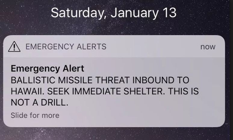 This alert appeared on mobile phones in Hawaii.