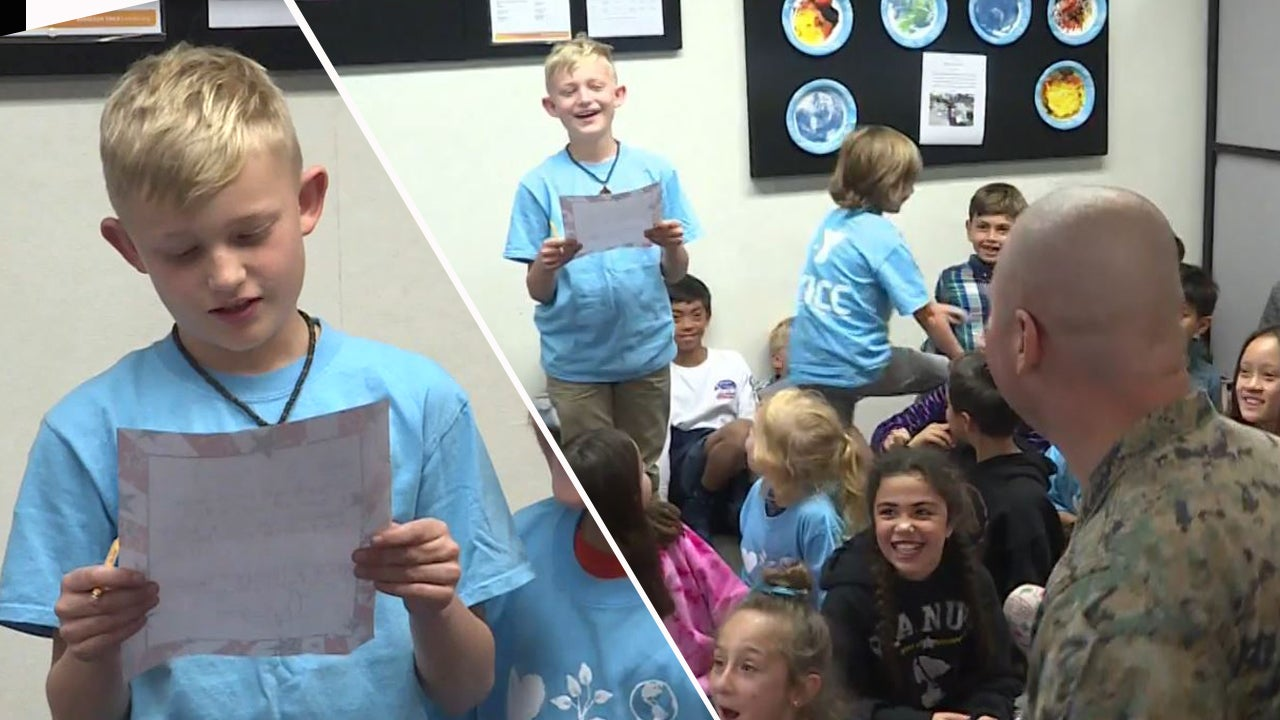 Boy Reading Letter to His Marine Dad During Class Is Shocked When He Shows Up