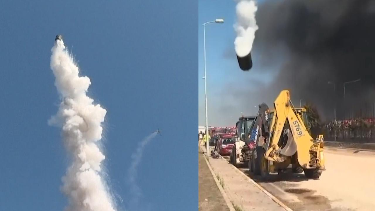 Chemical Factory Explosion Shoots Metal Drum Into the Air in Turkey