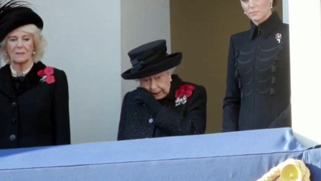 Queen Elizabeth Shows Rare Display of Emotion at 'Remembrance Sunday' Ceremony