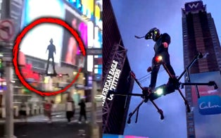 Man Flying a Hoverboard Stuns Spectators in Times Square