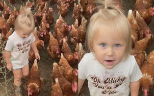 2-Year-Old Farm Girl From Ohio Is Constantly Followed by an Army of Chickens