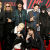 "Members of Motley Crue with the cast of ""The Dirt"""