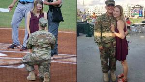 U.S. Army Reservist Proposes to Girlfriend During North Carolina Baseball Game