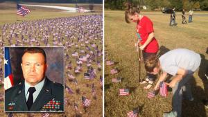 Elementary Students Cover School Lawn With 10,000 Flags For Fallen Veterans