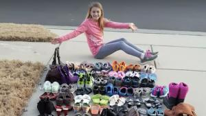 11-Year-Old Girl Collects Nearly 2,000 Shoes For Kids in Need