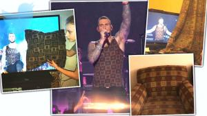 Adam Levine's Super Bowl Tank Top Looks Just Like Curtain Pattern