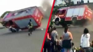 Out-of-Control Fire Truck Rolls Over During Training Exercise in Hungary