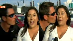 Did This Strange Man Try to Kiss a Reporter While She Was Working?