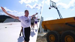 Basketball Coach Hits Trick Shot From Roof of His School