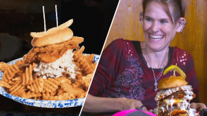 Competitive Eater Sets Record Devouring Enormous Sandwich in 3 Minutes