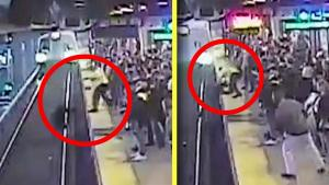 Hero Transit Worker Pulls Commuter From Tracks as Train Approaches Station