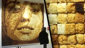 Street Artist Makes Mosaic of Woman's Face Using Only Grilled Bread