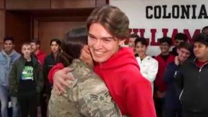 Teen Embraced by Sister in Air Force When She Surprises Him at High School