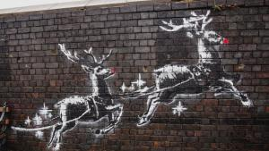 Vandal Paints Red Noses on Reindeer of Banksy's New Holiday Mural