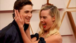 Timothee Chalamet Photobombs Margot Robbie on the Oscars Red Carpet