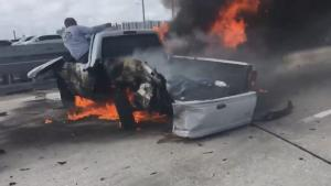 2 Heroes Rescue Driver Trapped Inside Burning Truck in Florida