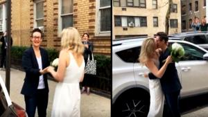 New York Couple Gets Married With Friends Celebrating While Social Distancing
