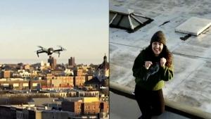 Man Uses Drone to Send Phone Number to Pretty Woman on Neighboring Rooftop