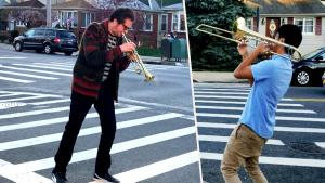 Lady Gaga's Bandleader Brian Newman Joins Teen in Jazz Jam Session on Street
