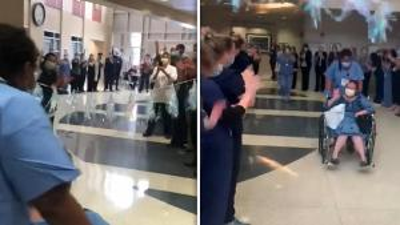 Woman Waves Goodbye to Hospital Staff Who Saved Her From Coronavirus