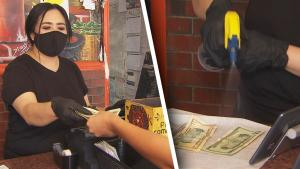 California Restaurant Manager Sanitizes Cash She Gets From Customers
