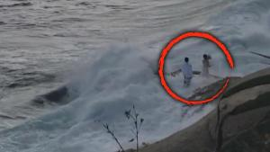 Bride and Groom Rescued After Being Swept Out Into Ocean While Taking Photos