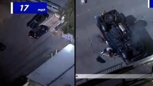 Watch Police Chase End With Motorist Driving Off Parking Deck and Surviving