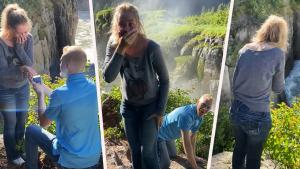 Man Pranks Girlfriend During Marriage Proposal by 'Dropping' Ring off Cliff