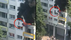 Crowd Catches 2 Children Dropped From Apartment Window During Fire in France