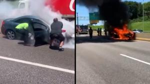 Stranger Pulls Driver From Car as It Goes up in Flames on Busy Highway