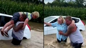 Man Braves Flooded Highway to Rescue Kids and Grandmother from Stuck Car