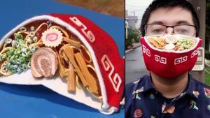 Japanese Artist Makes Coronavirus Face Mask Look Like Bowl of Ramen Soup